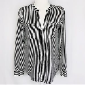 INC Black & White Striped Long Sleeve V Neck Top